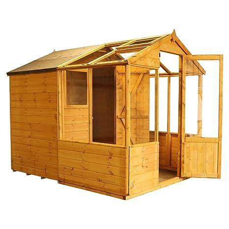 8 x 6 de madera Combi invernadero Tongue & Groove con cobertizo, Windows, sola