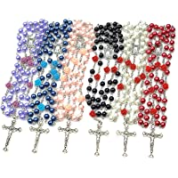 6 Pack Rosary Pearl Beads Catholic Necklace with Jesus Christ Crucifix Cross First Communion Gifts Confirmation Gifts…