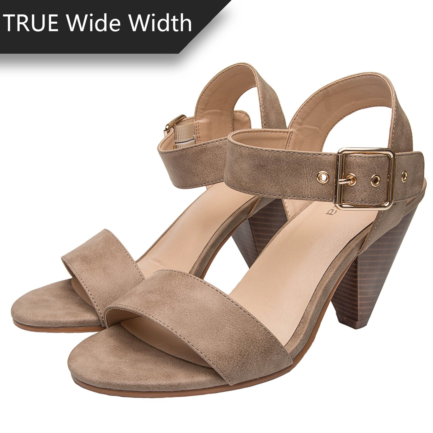 c3f6036c0c12 Luoika Womens Wide Width Heeled Sandals - Classic Low Block Heel Open Toe  Ankle Strap Suede Summer ...