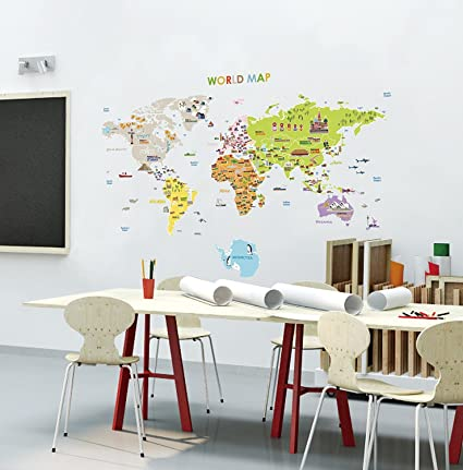 Big size world map removable nursery wall art decor mural decal sticker