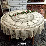 USTIDE 63-inch White Crochet Round Lace Tablecloth Knitted Wedding Table Overlays