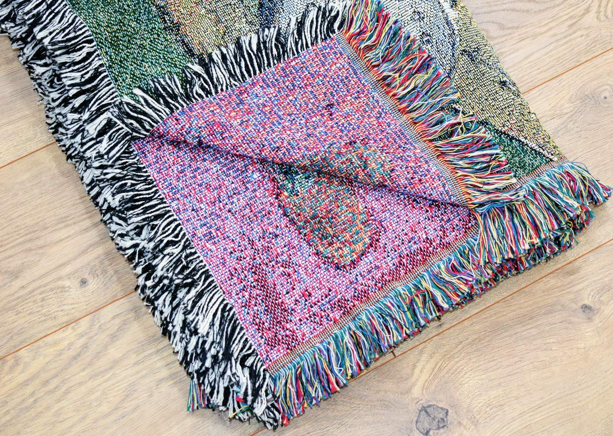 Fishermans Catch Trout Lodge Fishing Woven Tapestry Throw Blanket with Fringe Cotton USA 72x54 2394-T Pure Country Weavers