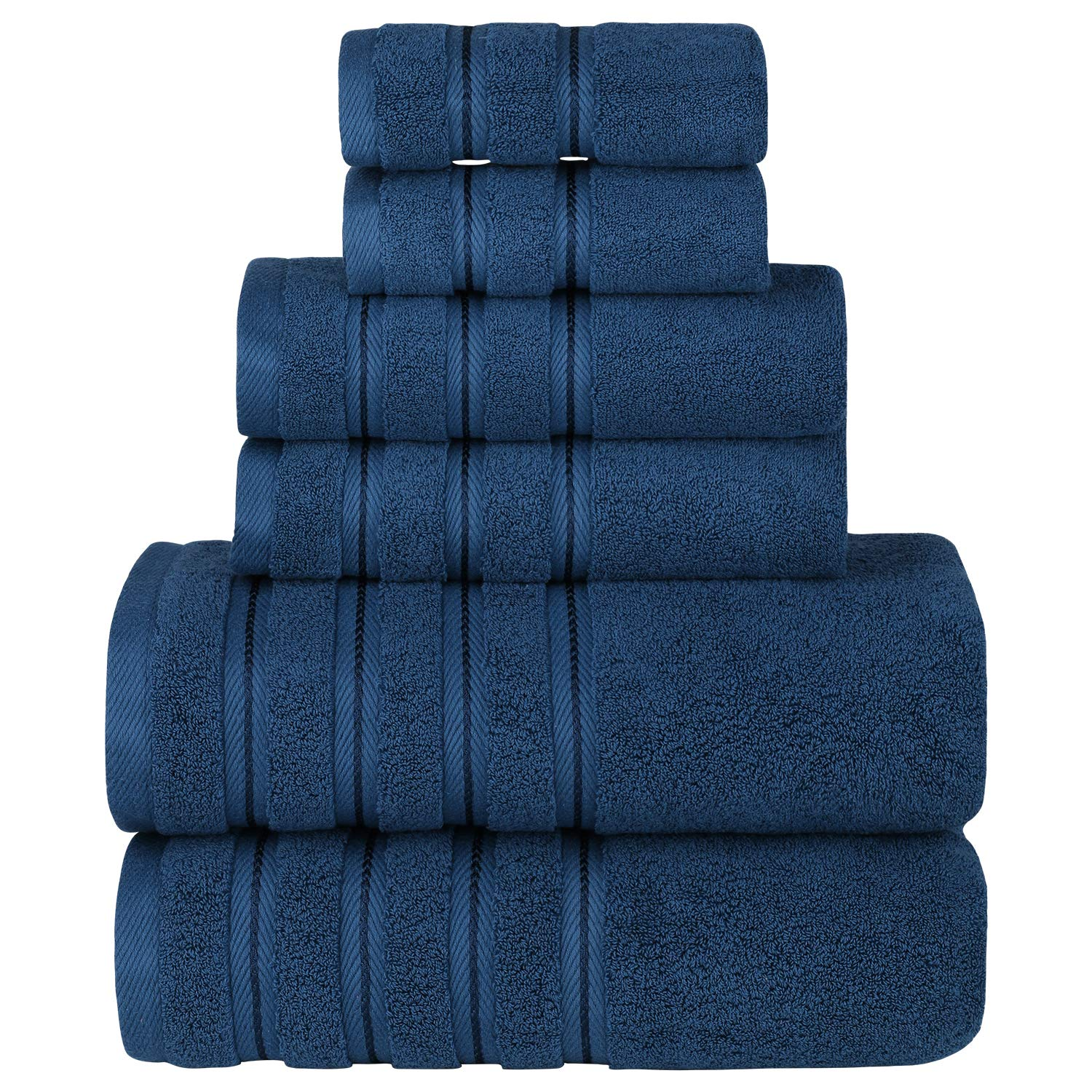 Sofi Towel 6 Piece towel set 100% Turkish Cotton Premium Luxury Hotel & Spa Quality 2 Bath Towels 2 Hand Towels 2 Wash Cloths Softness Highly Absorbent and Eco-Friendly Navy Blue