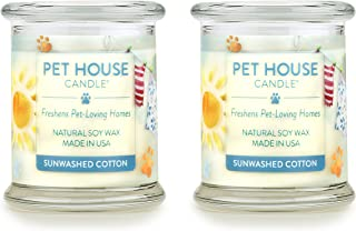 product image for One Fur All 100% Natural Soy Wax Candle, 20 Fragrances - Pet Odor Eliminator, Up to 60 Hours Burn Time, Non-Toxic, Eco-Friendly (Pack of 2, Sunwashed Cotton)