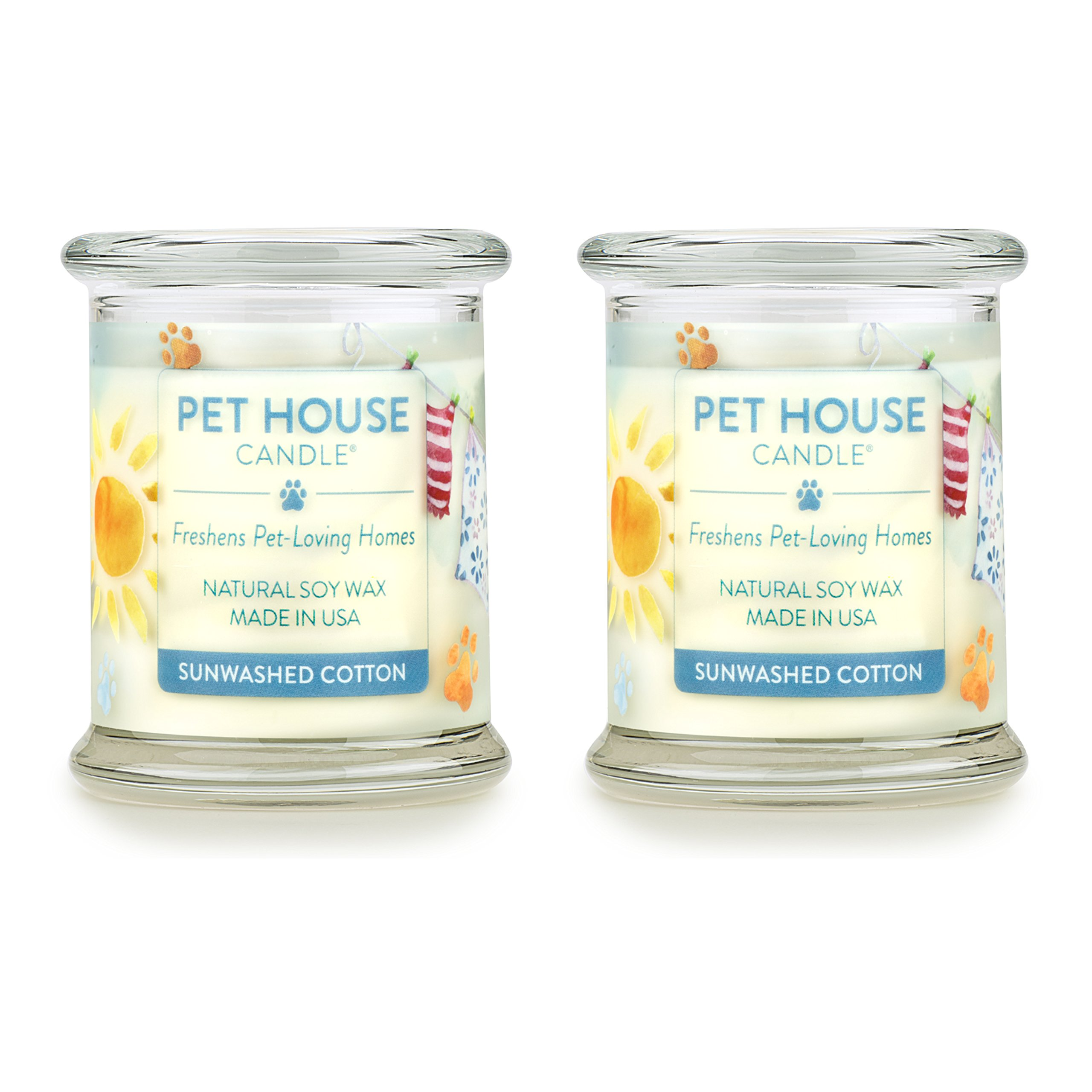 One Fur All - 100% Natural Soy Wax Candle - Pet Odor Eliminator, Up to 60 Hours Burn Time, Non-Toxic, Eco-Friendly Reusable Glass Jar Scented Candles - Sunwashed Cotton - Pack of 2