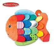 Melissa & Doug Flip Fish Baby Toy (Developmental Toy, Squeaker Tail, Shatterproof Mirror, Washable Fabrics)