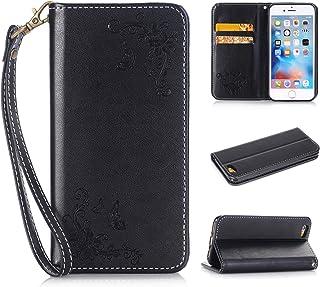 Apple iPhone 6s Plus(5.5 Zoll ) Boîtier en cuir, Ecoway Papillon Rose Embossage PU Cuir en Housse de protection Coques avec porte-cartes Porte-monnaie Porte-monnaie Ceinture détachable pour Apple iPhone 6s Plus(5.5 Zoll ) - noir