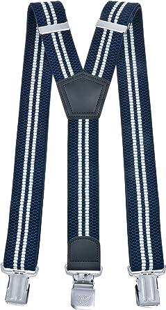 MIOBO Tirantes para hombre anchos. extra fuertes, 4 cm, con tres o cuatro clips, en forma de X o de Y, largos, para hombre y mujer, para pantalones, muchos colores Y gestreift