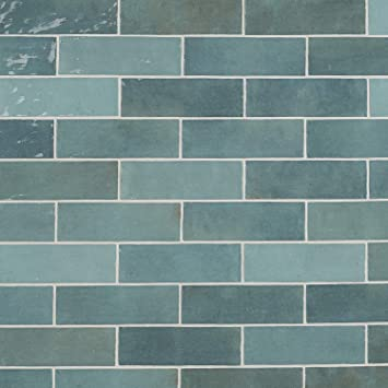 Kingston Blue 3 in Polished Ceramic Wall Tile x 8 in 36 Pieces, 5.38 Sq. Ft. // Case