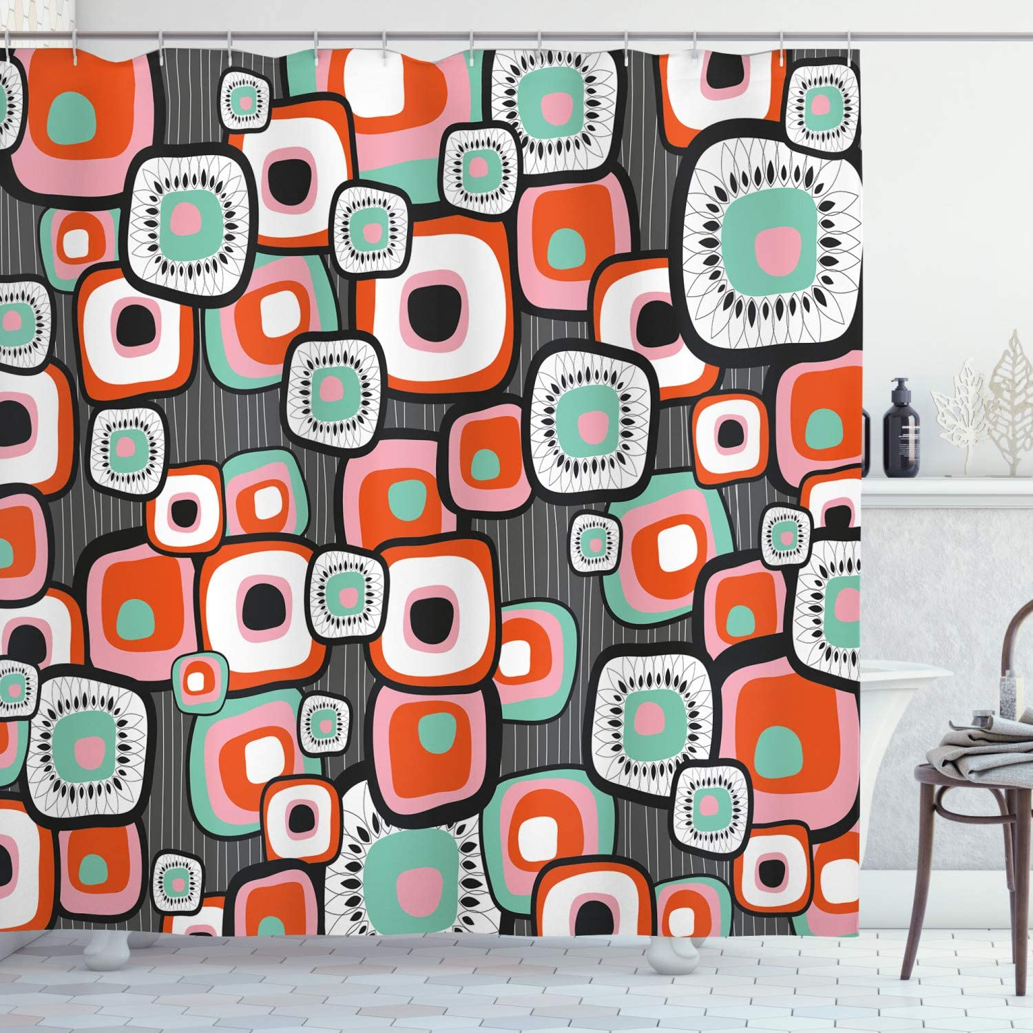 Ambesonne Retro Shower Curtain, Funky Square Shaped Lava Flowers with Abstract Inner Forms Print, Cloth Fabric Bathroom Decor Set with Hooks, 70