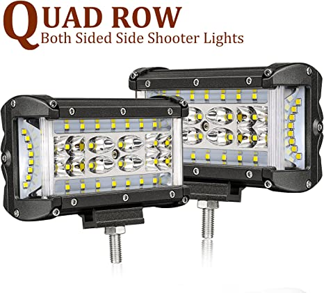 """7/"""" CREE Pods Flood Driving 4X4 Offroad Truck 20 24Inch LED Work Light Bar Combo"""