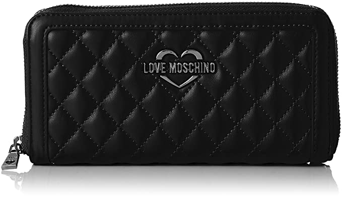 Damen Portafogli Embossed Pu Nero Clutch, schwarz (Black), 3 x 10 x 20 cm Love Moschino
