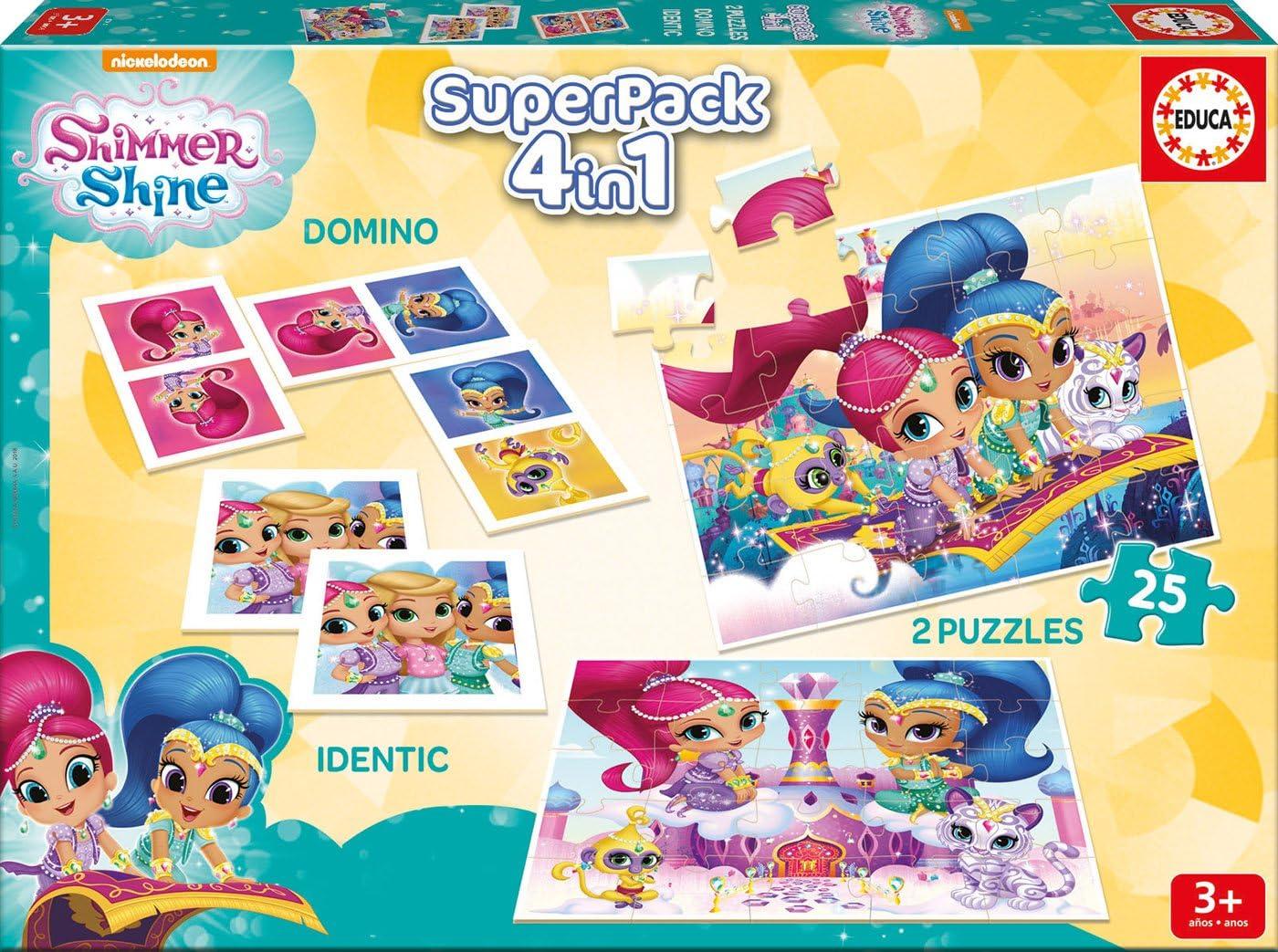 Educa Borrás- Shimmer&Shine Superpack 4 Juegos en 1 Shimmer and Shine Mesa, Multicolor (17714): Amazon.es: Juguetes y juegos