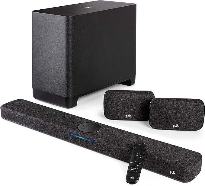 Polk Audio React 5 1 Surround System Heimkino Soundbar Mit Alexa Built In Mit Kabellosem Subwoofer Und Surround Lautsprechern Baumarkt