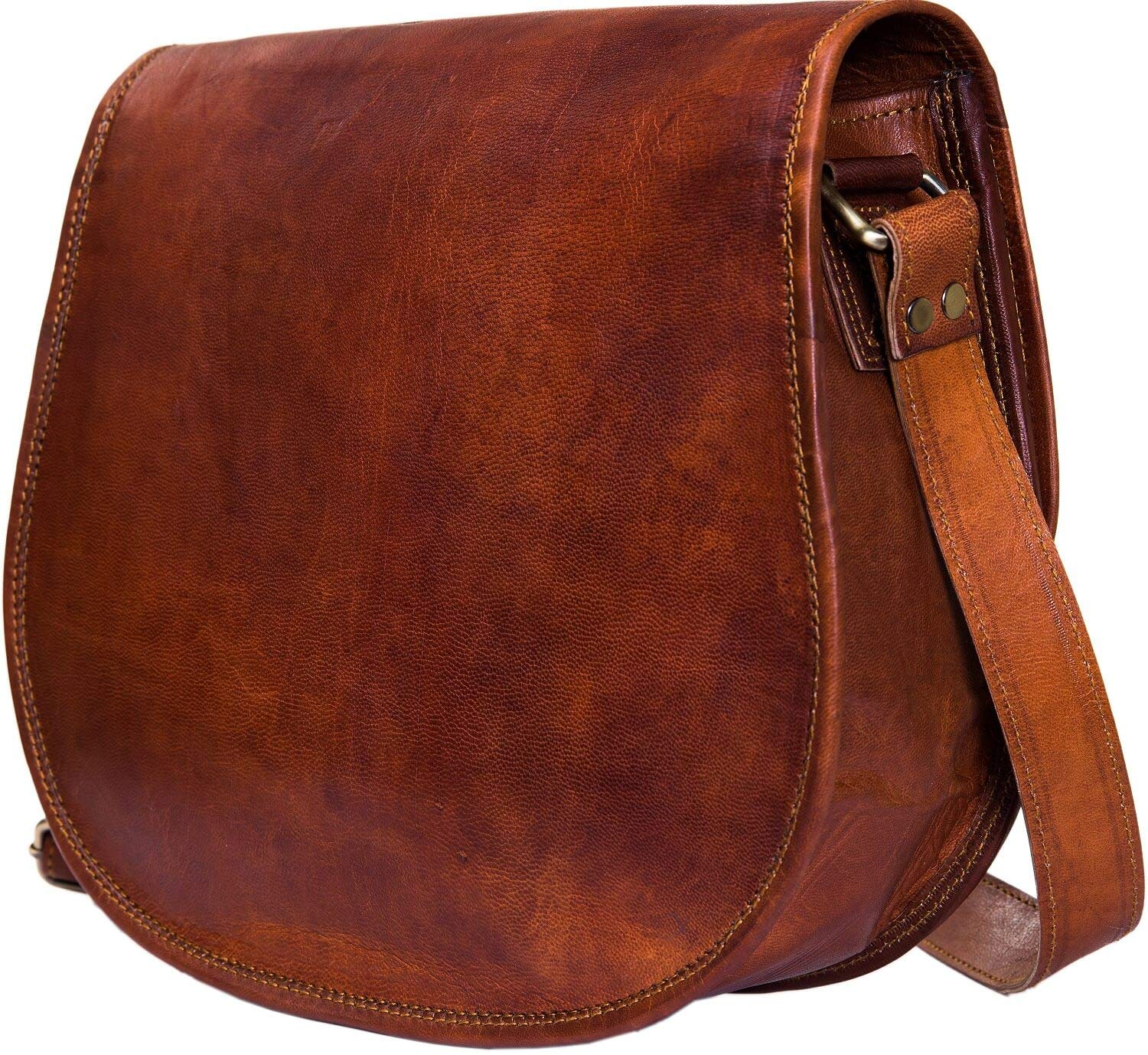 Urban Leather Crossbody Bags for Women Saddle Bag Purse Shoulder Handbags Mother's Day Gift for Young Women & Teen Girls Vintage Brown Genuine Leather Satchel Spring Handbag Small Size 12 inch