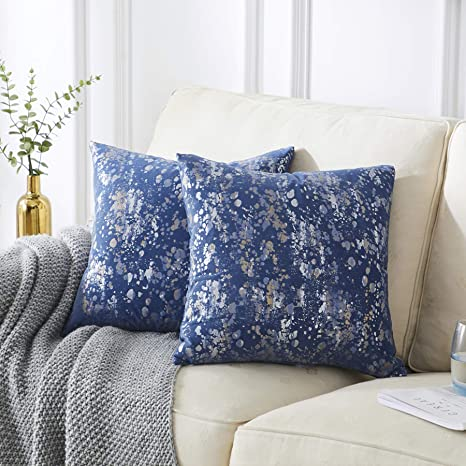 Solid blue cushion case for sofa couch or bed Cover for 20x20 insert Blue decorative throw pillow cover with zipper Toss pillow