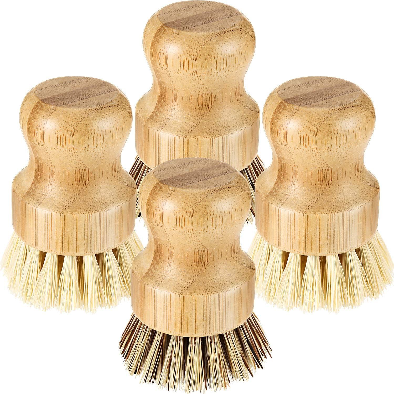 4 Piezas Mini Cepillos de Fregar Platos de Bambú Cepillos de Limpiar Olla con Cerdas de Coco para Limpieza de Sartén de Hierro Fundido Fregadero Cocina Baño Hogar, 2 Colores