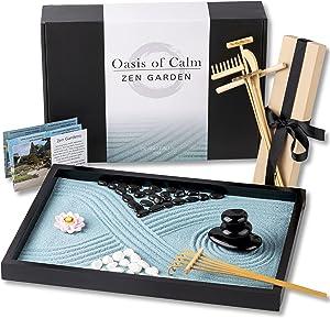 Oasis of Calm Zen Garden Kit - 11x8 Inch Beautiful Premium Japanese Mini Rock Garden Meditation Gift Set for Home & Office Desk-top. Aqua Blue Sand, 6 Tools & 6 Features Create Unique Calming Zen