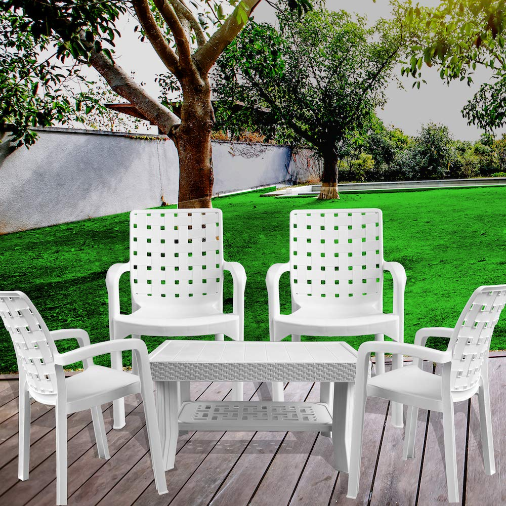 Italica furniture armchair and table combo indoor and outdoor furniture set 9408 9503 white set of 4 chairs 1 coffee table amazon in home