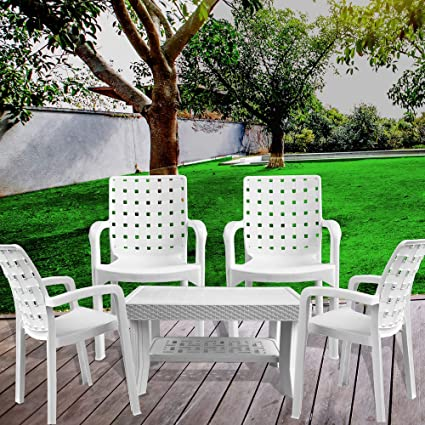 Italica Furniture - Armchair and Table Combo - Indoor and Outdoor Furniture Set  (9408 & 9503, White, Set of 4 Chairs & 1 Coffee Table)