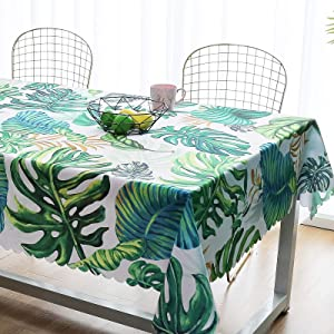 "iLiveX Tablecloth, Original Design Hand Drawing Art Print Table Cloth, Water-Proof Rectangle Table Cover, Kitchen Dining Indoor Outdoor Buffet Tabletop Decoration, 60""x84"" (Green Tropical)"