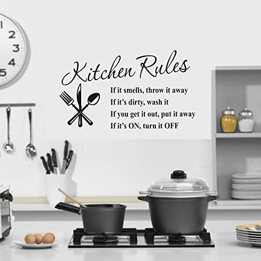 Kitchen Rules Sticker, Wall Art Decor. Kitchen Sticker: Amazon.co ...