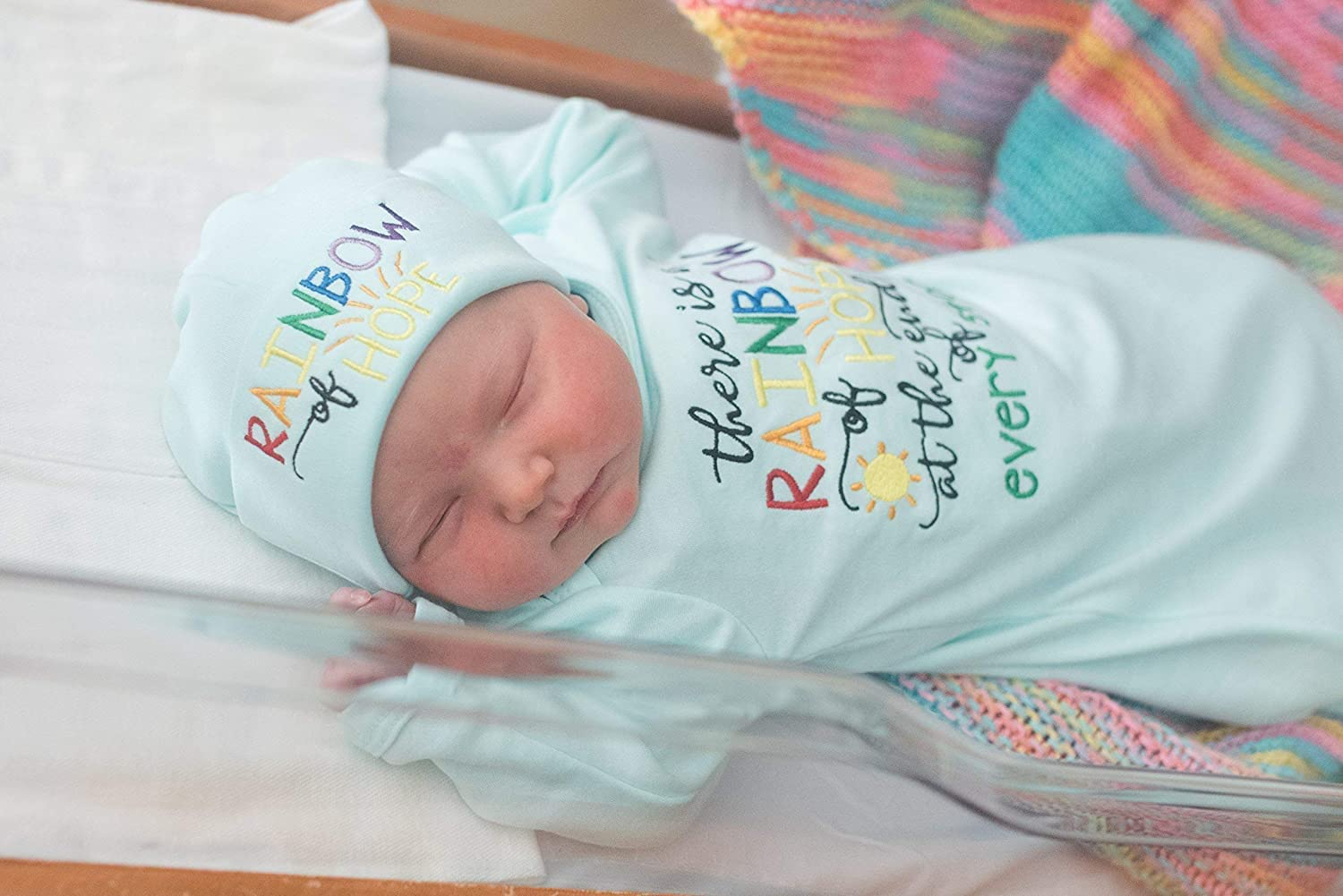b7ece59e299 Newborn Baby Unisex Infant Gown and Hat Set- Rainbow Baby - Baby Shower Gift  - larger image
