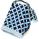 Itzy Ritzy Cozy Happens Infant Car Seat Canopy and Tummy Time Mat, Social Circle Blue