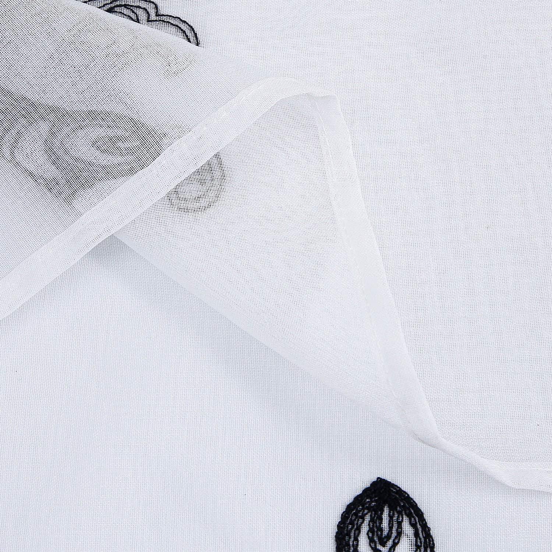 cm Bordeaux x145 140 Topfinel Lot de 2 Rideaux Voilage Broderie de Fleur en Lin pour Salon Moderne /à Oeillets Rideau D/écoration Chambre Cuisine Largeur Hauteur