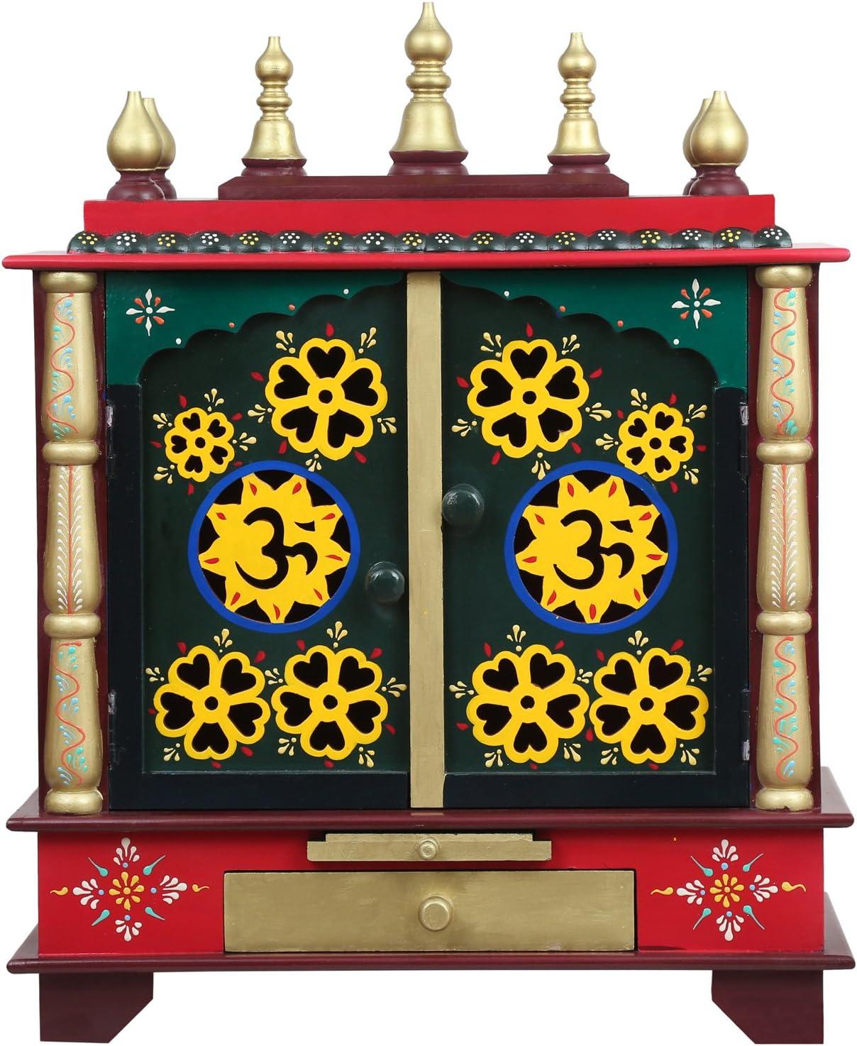 Homecrafts Wooden Temple, Pooja Mandir for Home, 24 X 12 X 30-inch (Green)