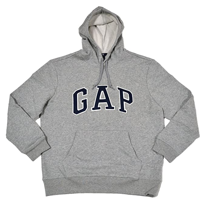GAP Mens Fleece Arch Logo Pullover Hoodie (Gray, Large) at Amazon Mens Clothing store: