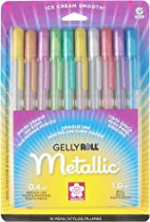 Sakura 57370 10-Piece Gelly Roll Blister Card Assorted Colors Metallic Gel Ink Pen Set