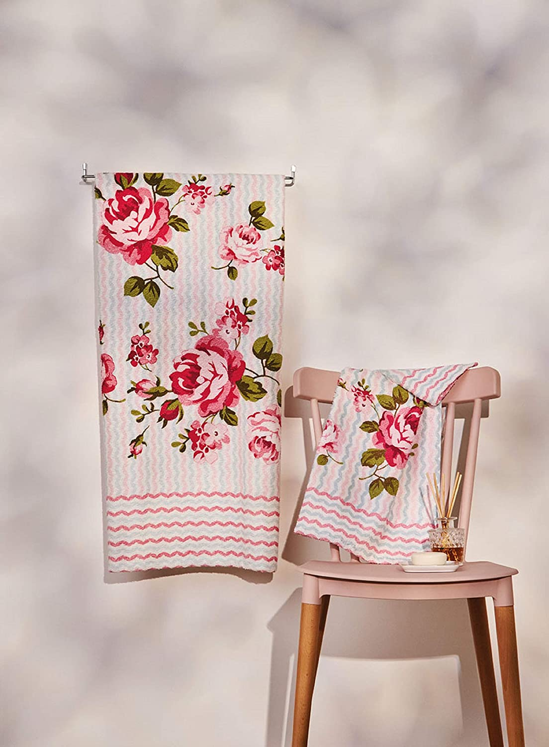 AdonisUSA Printed Bath and Hand Towel Set. Pretty Old Fashioned Print of Roses and Flowers Pattern with Pink and Blue squiggly Lines (Pink Rose Bath Set-2 Bath+2 Hand Towels)