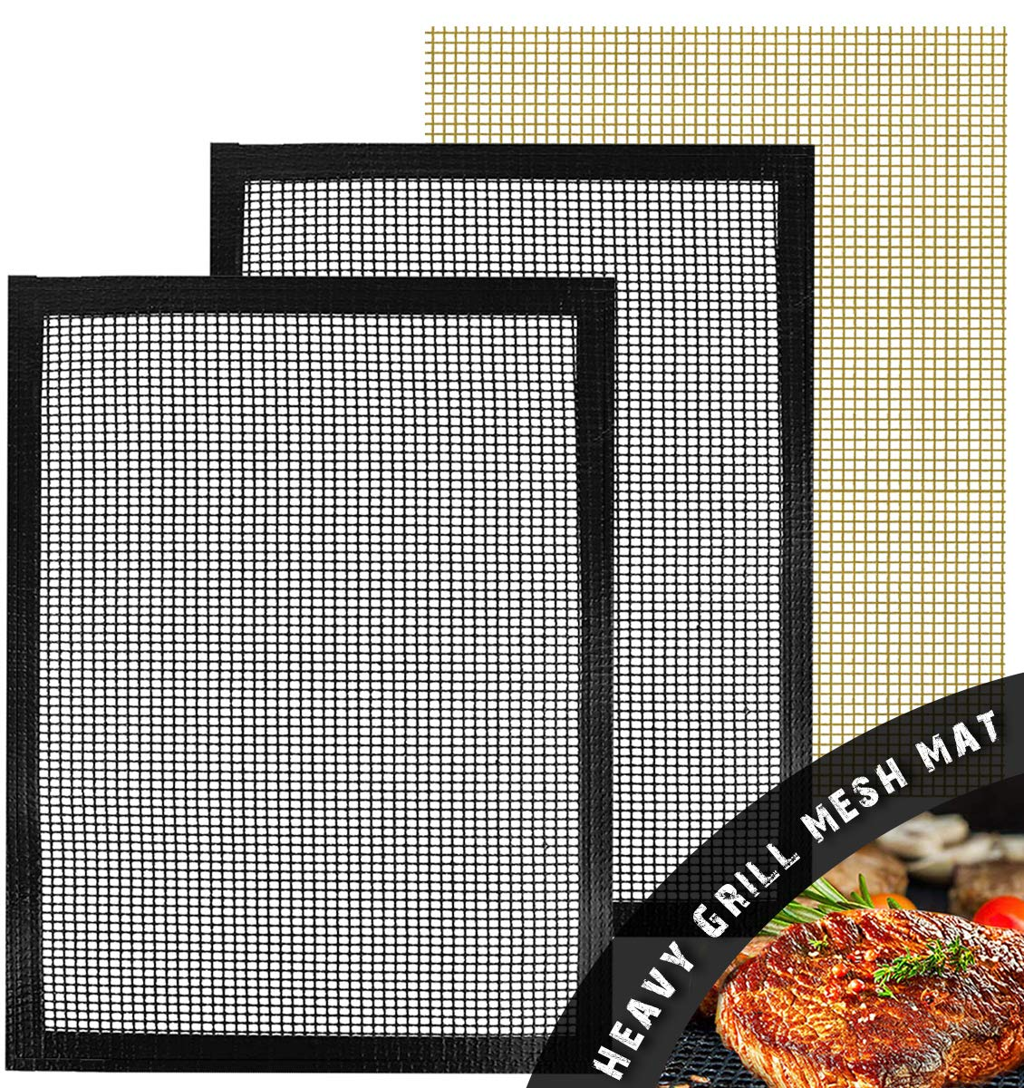 Wodahan BBQ mesh Grill mats(Set of 3)-Heavy Duty Non Stick mats,Reusable,13×15.75in,Suitable for Charcoal Electrical and Gas Grilling. by Wodahan