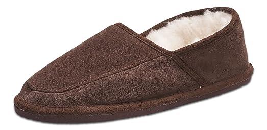 Nordvek - Zapatillas de casa para hombre - Mezcla de ante auténtico y lana ovina - Artesanal - # 446-100 (47, Chocolate)