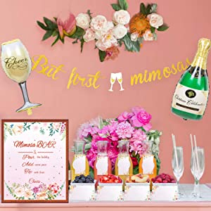 Mimosa Bar Decorations Kit, Mimosa Bar Sign Banner Tags Supplies by Hombae, Bubbly Bar for Birthday Party, Bridal Shower, Baby Shower, Graduations and Wedding Engagement