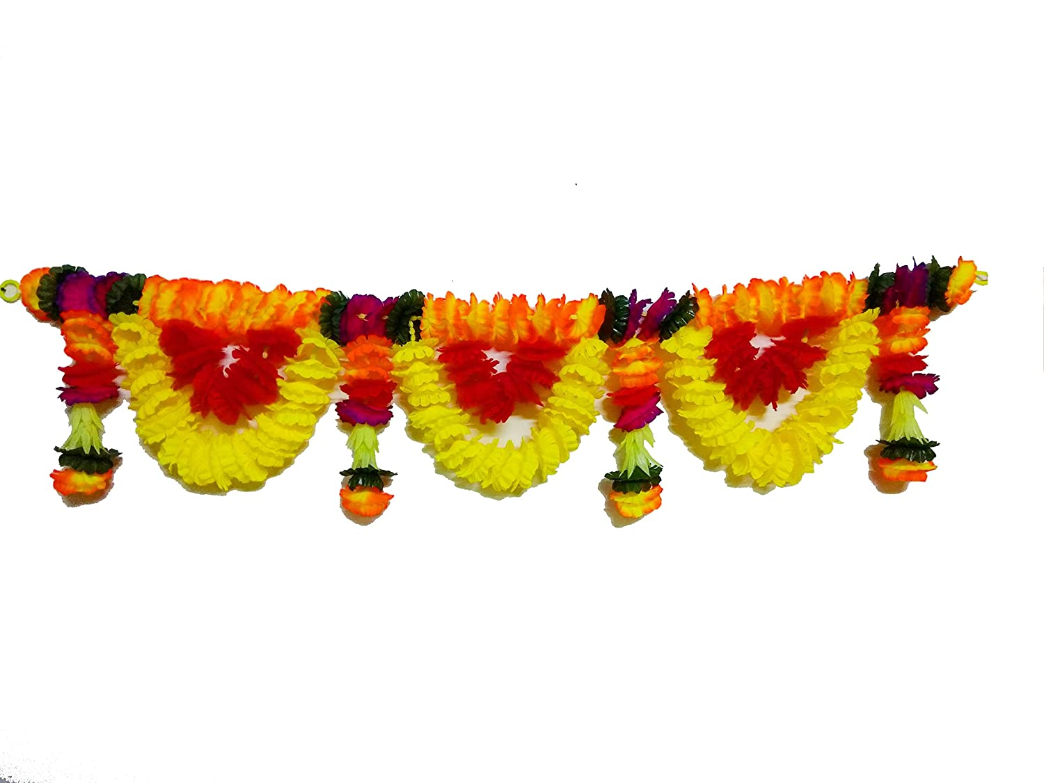 3dd1e3e0b5d AFARZA Cloth and Plastic Artificial Flower Toran Garland, Main Door Hanging  for Home Decoration (42 x 8 inches, Multicolour)