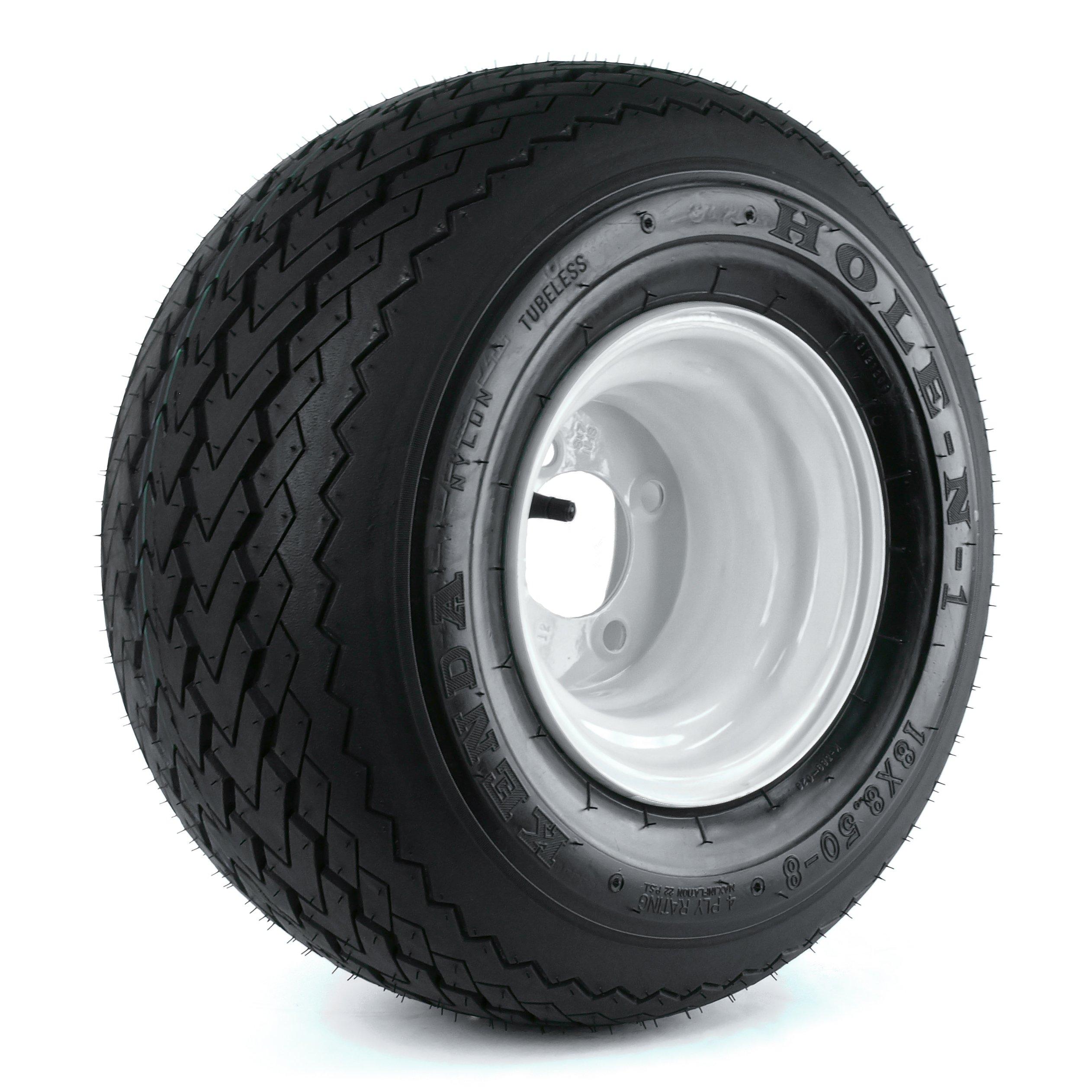 Kenda Hole-N-1 White 8'' x 7'' 4-Hole Wheel and (18/8.50-8) Tire Combination