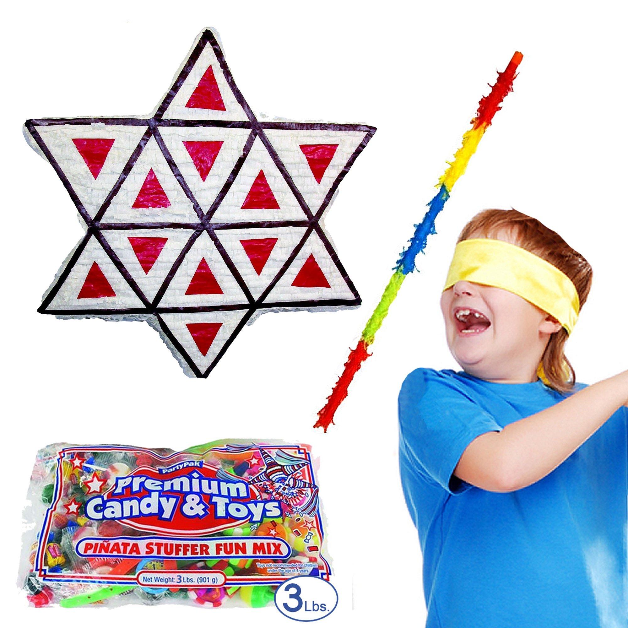 Pinatas Purim Hamant Ashen Pinata Kit Including Pinata, Buster Stick, Bandana, Toy and Candy Filler, 3 lb. by Pinatas (Image #1)