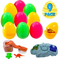 9 Packs Gigantic Easter Eggs (4.7'') with 9 Packs Magic Sand with Dinosaur Figures and See Animal or Dinosaur Molds in Assorted Colors for Kids Easter Egg Hunt Games, Colorful Kinetic Cotton Sand For Easter Basket Stuffers, Stress Reliever, Carnivals School Supplies and Gift Exchange
