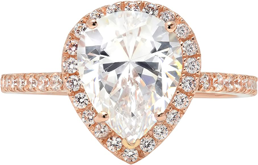 a3fcde04cff 2.55ct Brilliant Pear Cut Halo Statement Solitaire Ring 14k Rose Gold,  Clara Pucci