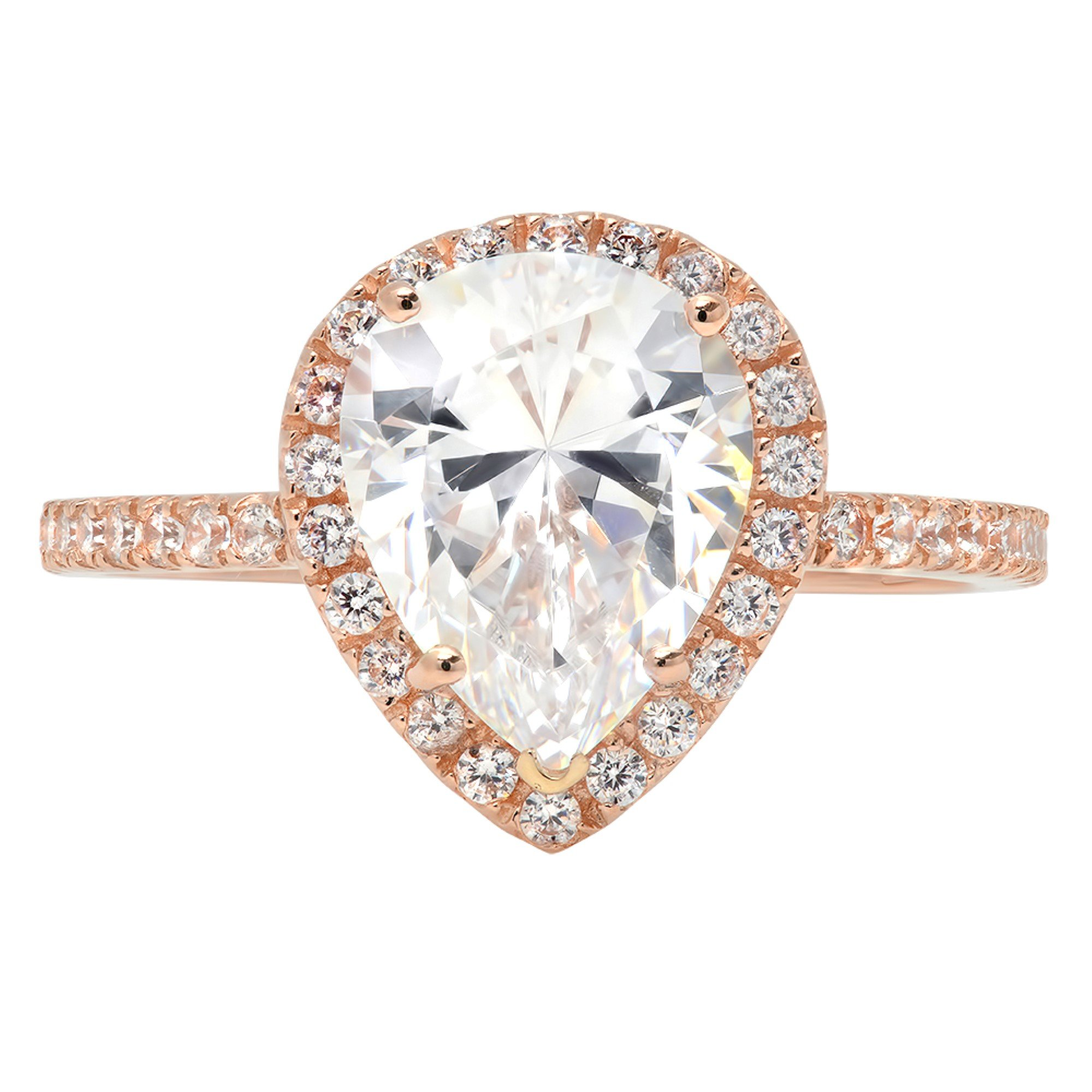 2.65ct Brilliant Pear Cut Halo Wedding Anniversary Engagement Promise Statement Bridal Ring 14k Rose Gold, 7