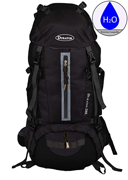 DURATON Hiking Backpack with Hydration Compatibility (50L) - Daypack with  Rain Cover for Outdoor 9fa69f68f
