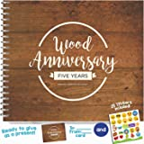 5TH ANNIVERSARY GIFTS FOR COUPLES BY YEAR - Five Year Booklet with Matching Card for Wood Anniversary. Fifth Anniversary Memory Journal - Unique 5 Year Wedding Gift for Husband or Wife!