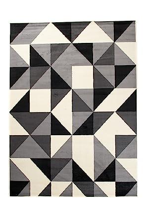Tapis de Salon - Noir Gris Blanc - 180 x 250 cm - Design Contemporain -  pour la Chambre Moderne - Doux et Epais - à Poil Long - Géométrique - ...