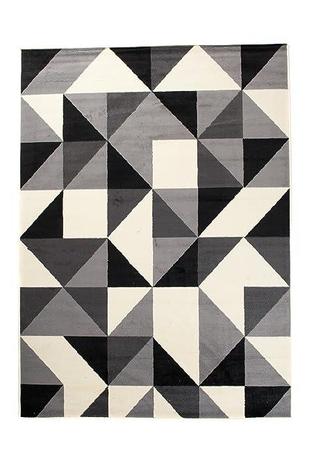 Tapis de Salon - Noir Gris Blanc - 200 x 300 cm - Design Contemporain -  pour la Chambre Moderne - Doux et Epais - à Poil Long - Géométrique -  Carreaux ...