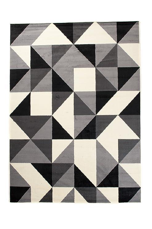 Tapis de Salon - Noir Gris Blanc - 140 x 200 cm - Design ...