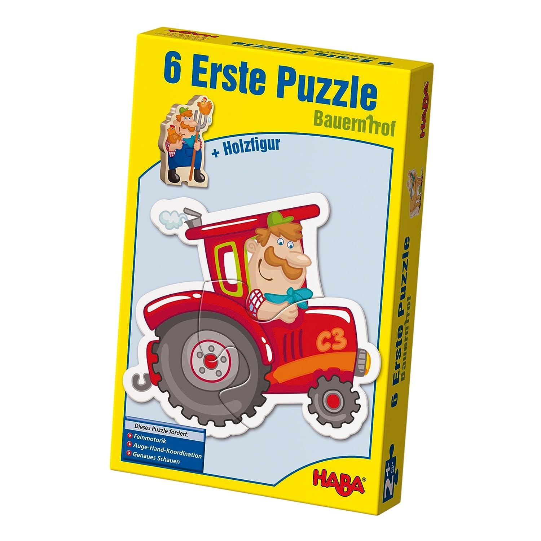 Haba 3900 - 6 Erste Puzzles Bauernhof, Puzzle mit 6 niedlichen Bauernhofmotiven für Kinder ab 2 Jahren, mit Holzfigur zum freien Spielen B002LE32JY Tiere Kinderpuzzles