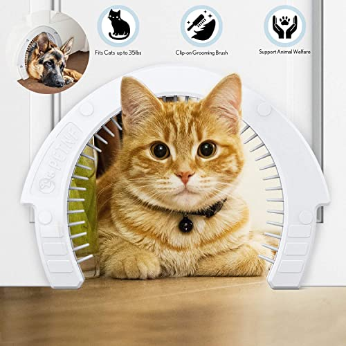 Interior Cat Door Pet Door for Cats with a Removable Cleaning Grooming Brush Large Pet Cat Pass for Adult Cats up to 35 lbs Easy to Install Indoor Cat Door Detailed Instructions Plus Screws Caps