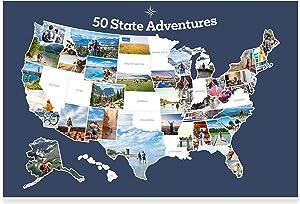 "PHOTOMAPS.COM USA Photo Map - Travel Map Sticker Collage - 24 x 36"" - Made in USA (Dark Blue, No Frame Hanger)"